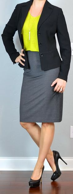 Outfit Posts: outfit post: citron green sweater, black suit jacket, grey pencil skirt, black pumps