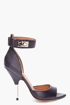 GIVENCHY Black Leather Shark-lock Heels