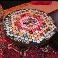 DIY beer cap table- perfect for a man cave