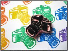 hand carved camera stamp