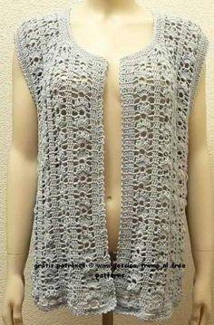 free women's sleeveless cardigan crochet pattern with fantasy stitch