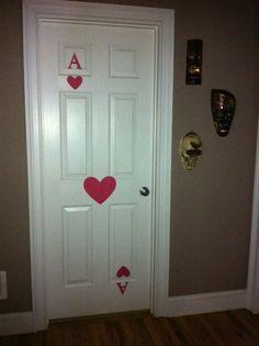 Easy door decor for a Wonderland party. card doors