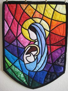 Madonna and Child Stained Glass Quilted Wall Hanging -