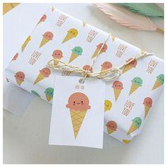 molly meg ice cream gift wrap x 3