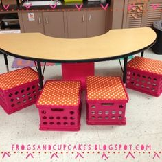 Chicka Chicka Boom Boom classroom decor chicka chicka, reading groups, classroom decor, chicka boom, book storage, milk crates, reading chairs, guided reading, classroom ideas