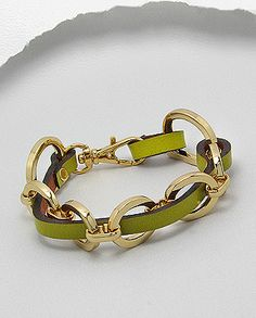 Green is a huge color for fashion this Fall..... Lawn Green Leather Gold Tone Oval Links Weekender Bracelet $39