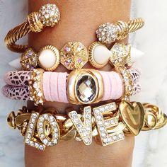 bracelet stacks of pink and gold