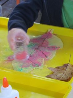 K's been obsessed with collecting leaves and glitter lately.  Think I will go look for fall colored glitter and try this.