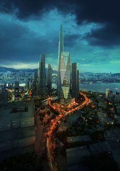 'Diagonal Tower' by SOM / Seoul, South Korea