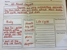 Nonfiction Writing--great organizational printable that encourages kids to sort their facts into paragraphs by topic, include key vocabulary, and even a possible text feature.