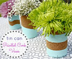 Painted Tin Can Cork Vases  |  View From The Fridge
