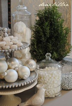 ornaments on tray... and jars, oh my!