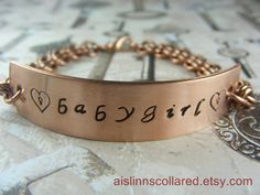 Babygirl Handstamped Copper Chainmaille by aislinnscollared, $20.00