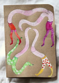 Worms in tights (sketchbook project) by Hazel Terry