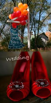 red shoes, barn wedding