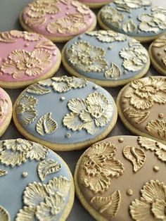 Gold embroidered cookies from SweetAmbs