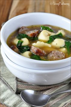 Sausage and Tortellini Soup with Spinach from @Very Culinary