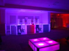 LED Bar, Pink & Purple Lighting {Bat Mitzvah Lounge by Interactive Entertainment Group} - mazelmoments.com
