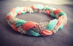 Just some chain, embroidery floss, and braiding! in love! diy coral, craft, braided bracelets, color schemes, color combos, diy jewelry, wedding colors, diy bracelet, summer colors