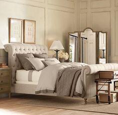 linen upholstered bed