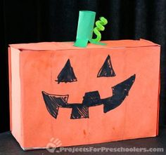 halloween decorations, fallhalloween craft, cardboard boxes, jackolantern box, box jackolantern, jack o lanterns, fall craft, halloween craftscard, pumpkin craft