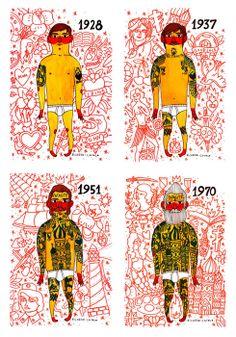 artists, tattoos, art prints, nikolai life, beard, life art, ricardo cavolo, tattoo ink, illustr