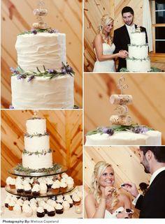 A unique white wedding cake with a wine stopper topper Photo @Melissa Copeland