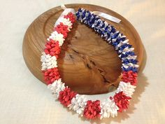 Fourth of July  Patriotic Paper Flower Lei by LundinLeis on Etsy, $25.00