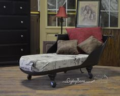 Repurposed clawfoot tub to couch, sette, by Gypsy Barn