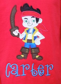 Jake from the Neverland Pirates Applique Shirt by sewmonogramit, $24.00