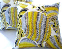 Yellow Trina Turk Driftwood Grey  Accent Pillow cover 16 x 16. $55.00, via Etsy. trina turk, blue pillow, accent pillows, grey accent, pillow covers, yellow, pillow pizzazz, driftwood grey
