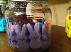 here is my version of an older child (or adult) Easter basket - fun to do - put stickers on the container or even let younger kids decorate them ahead of time (kind of like a stocking at Christmas) and leave them outside their bedroom door to be filled  :)  You can put prizes and favorite 'things' in it instead of candy too