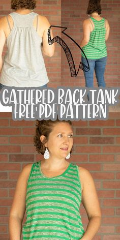 sew a tank top from this free sewing pattern pdf. A free gathered back tank with cute shape and easy to sew tutorial. A simple summer sewing project in sizes xs- xxl.