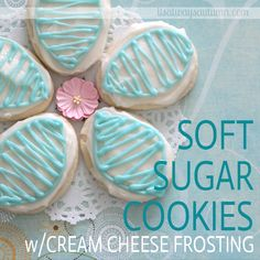pretty soft sugar cookies with cream cheese frosting`