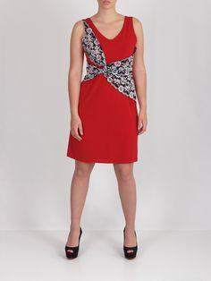 Vestido rojo con encaje nudo #dress