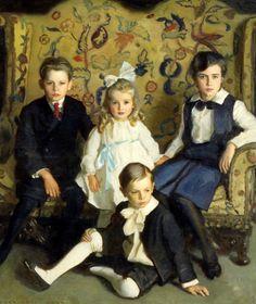 Harrington Mann (1864-1937) A Family Portrait of Four Children