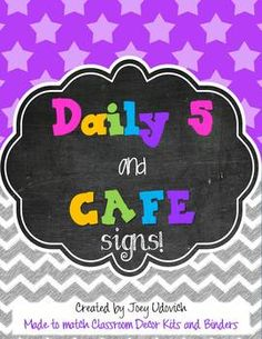 FREE Daily 5 and CAFE Signs -- Three theme choices to fit your classroom needs! :)  Enjoy!