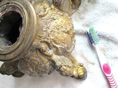 Use a toothbrush and a light mix of Barkeeper's Friend and water to clean antique brass >> http://blog.diynetwork.com/tool-tips/2013/04/04/vintage-lamp-rewire/?soc=pinterest