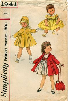 1950's // Toddlers' DRESS COAT BONNET Pattern by graymountaingoods, $8.00