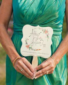 Wedding program made into a fan