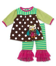 Green and Pink Owl Top with Stiped Pants