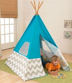 Love this turquoise and chevron teepee!