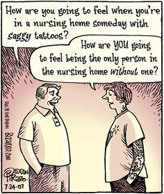 Nursing Home Tatoos | From Bizarro Comics