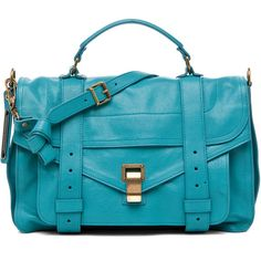 Proenza Schouler PS1 Medium Leather in Lagoon ($1,695) ❤ liked on Polyvore