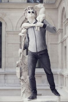 Classical sculptures dressed as hipsters, lol