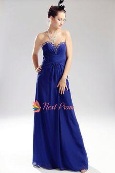 Royal Blue Chiffon Evening Dress, Chiffon Beaded Illusion Prom Dress, Strapless Long Beaded Chiffon Prom Dress
