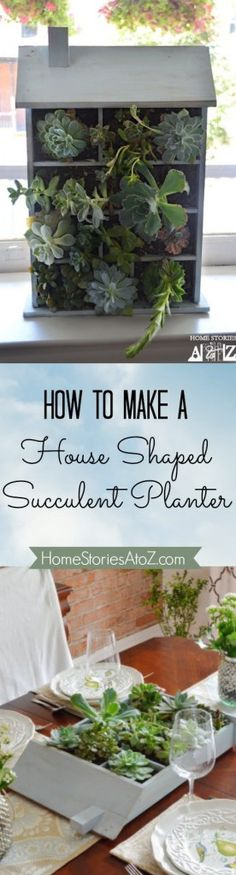 How to make a house shaped planter. Step by step tutorial. #succulents