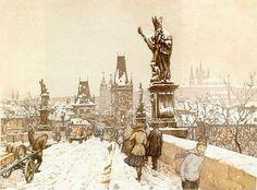 T.F.Simon ~ 'Charles Bridge in Winter', 1916