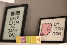 "Loving this ""Keep Calm and Game On"" artwork in this retro Nintendo nursery"