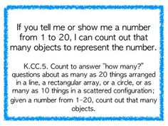 "Kindergarten Common Core Math Standards - kid-friendly ""I Can"" statements for each standard, posters can be hung in classroom or sent home for parents!"
